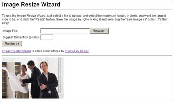 Image Resize Wizard screen shot