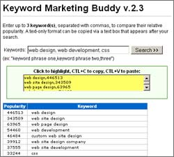 Click to view Keyword Marketing Buddy 2.3 screenshot
